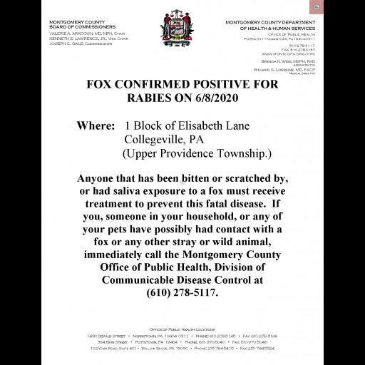 Montco Press Release - Fox Confirmed Positive for Rabies